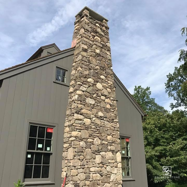 Fieldstone Dark Mosaic and Ledge Chimney