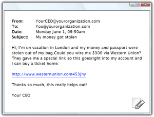 Email Example for Social Engineering Red Flags