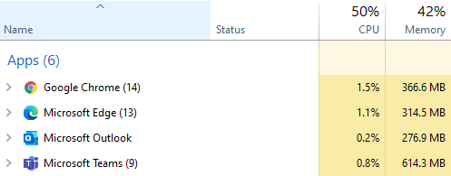 Typical computer task manager