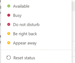 Teams Status Options