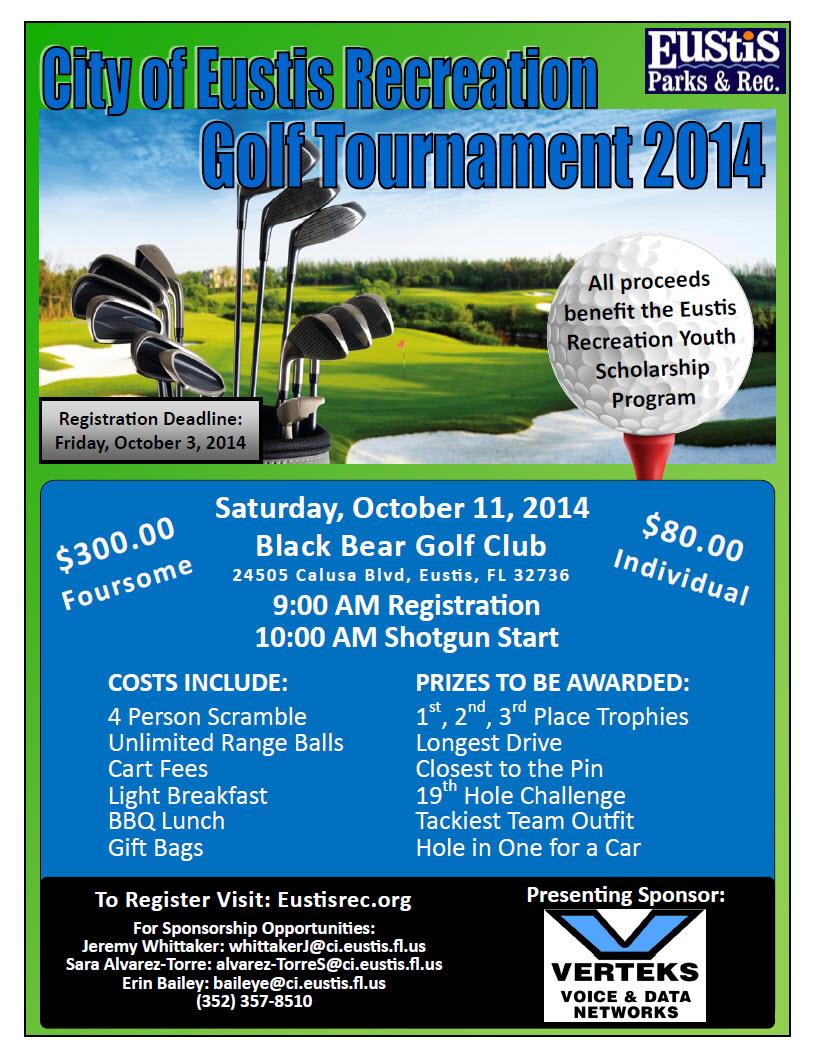 City of Eustis Recreation Dept Golf Tournament Flyer Oct 2014