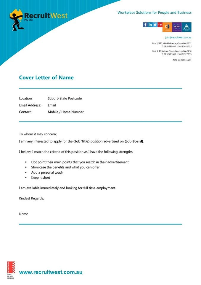 RecruitWest   How to Structure a Cover Letter - Perth and