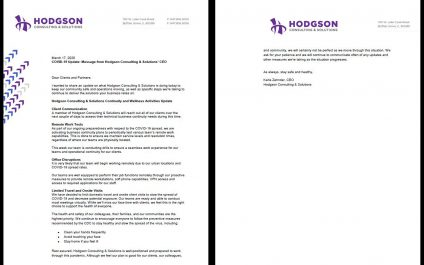 COVID-19 Update: Message from Hodgson Consulting & Solutions' CEO