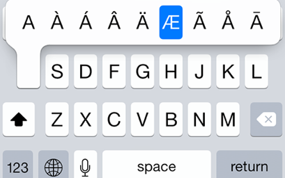 iPhone 6 – type special / accented characters