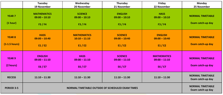 Year-7-9-Examination-Schedule-2019