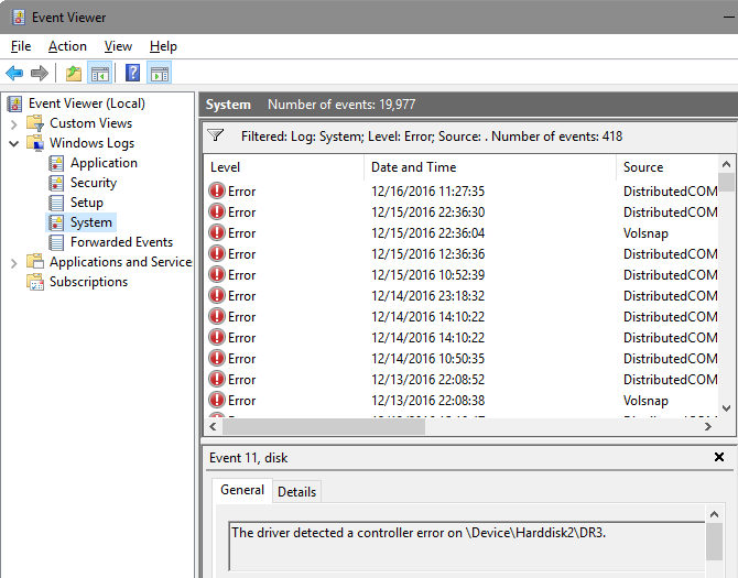 Windows Event Viewer errors
