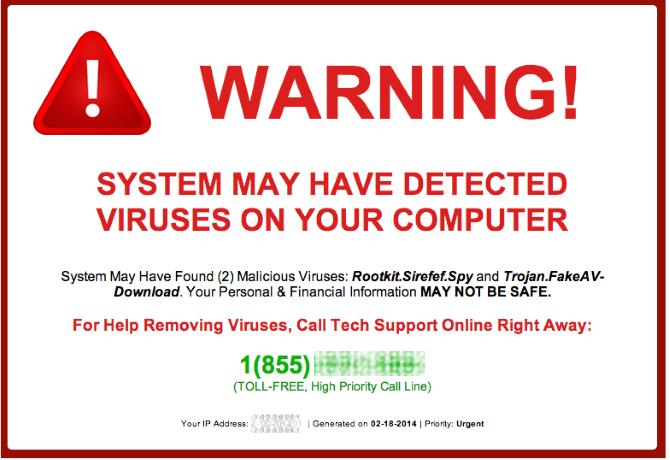 Fake virus warning