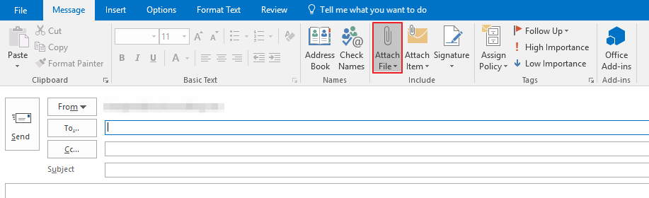 Attaching Files in Outlook