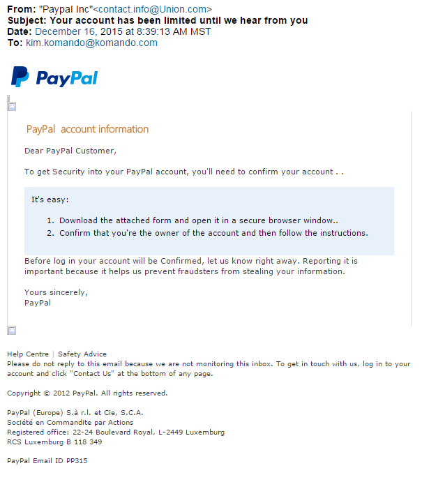 Paypal Emails Fake