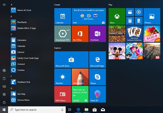 Windows-10-Default-Start-Menu