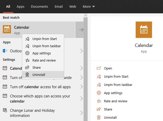 Windows 10 Uninstall Calendar