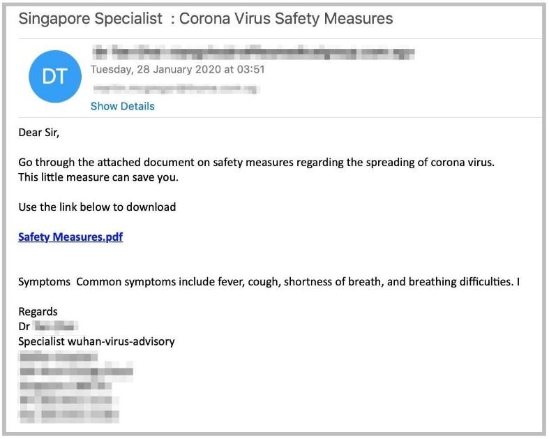 Coronavirus Fake Email