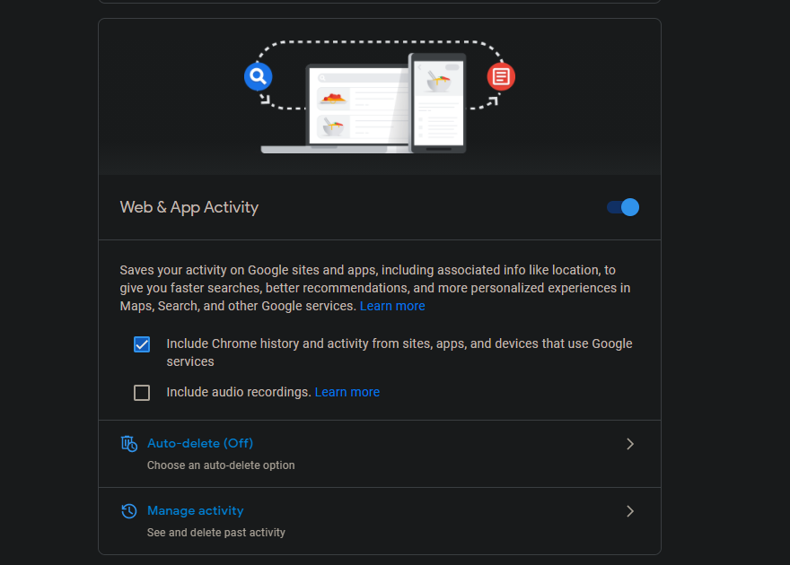 Google-Manage-Activity-Panel