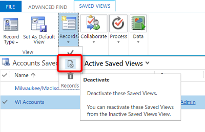 Deactivating Personal Views in Microsoft Dynamics 365 - Pewaukee