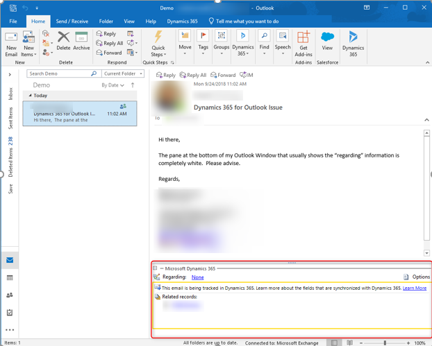 Dynamics 365 for Outlook: Tracking Details Not Displaying