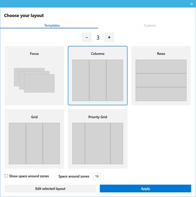 Microsoft PowerToys Zone Layout