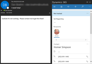 Dynamics 365 Outlook App v9 – Create Case from Email