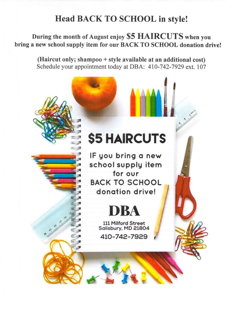 $5 Haircuts with the donation of a new school supply item