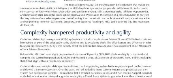 Transforming sales: Microsoft removes obstacles and gives back time with Dynamics 365