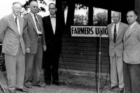 Farmers Union Picnic at Eel Weir State Park. Bookends are Archie Wright and Meyer Parodneck. In the middle are Carl Peter, Senator John McEwen, and Leslie.