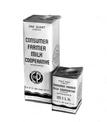 The Consumer-Farmer Milk Cooperative of Long Island City's Quart & Half Pint Milk Containers