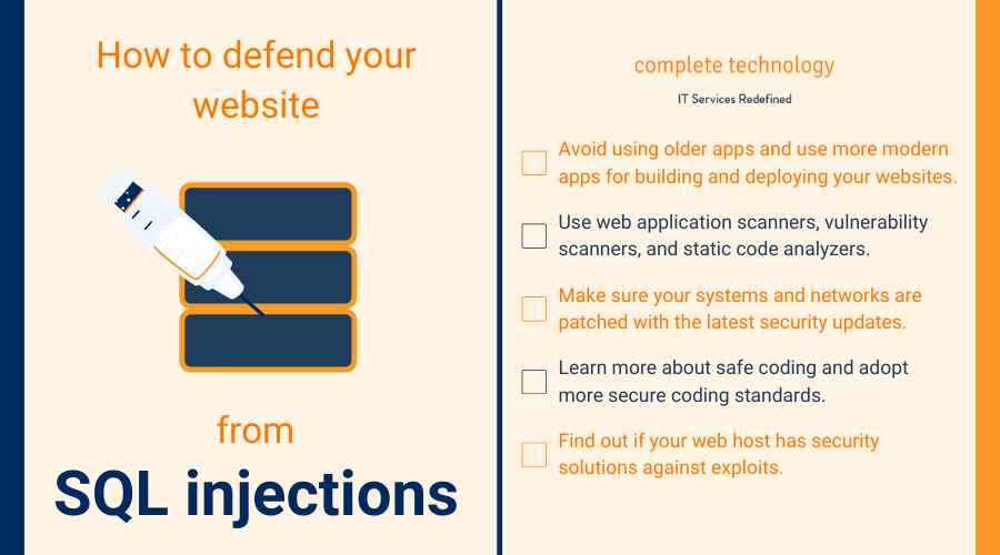 how to protect your website from SQL injection infographic