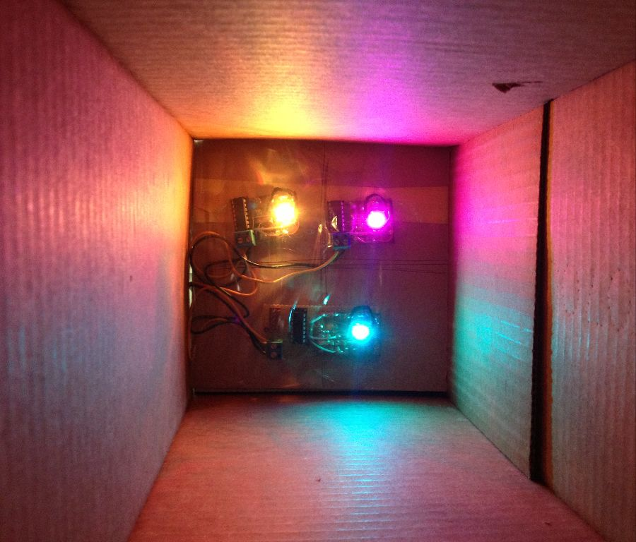 Three units programmed inside a light shield box.