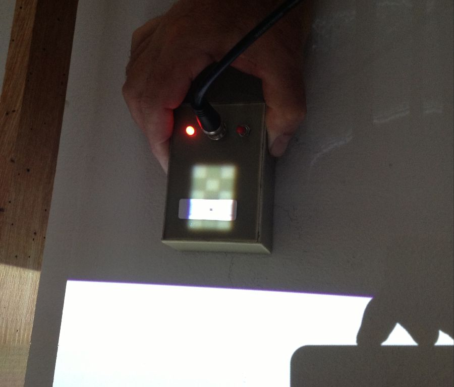Testing the projector light output.