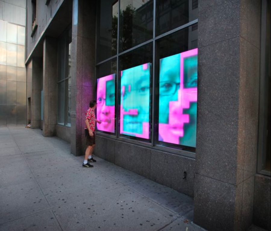 Sensacell interactive window art -- 57th St New York City.