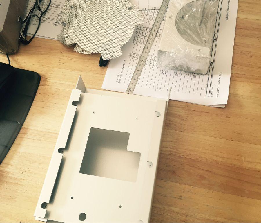 Checking sheet metal parts.