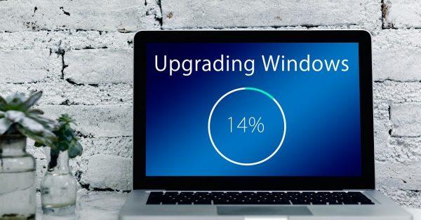 A laptop upgraded windows.