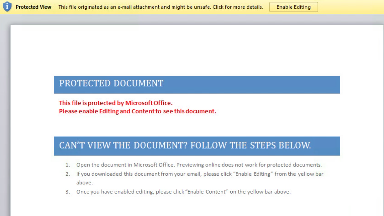 URGENT: Potential business impact  Beware of Microsoft word