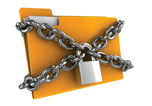 Manila folder secured with chain and a padlock