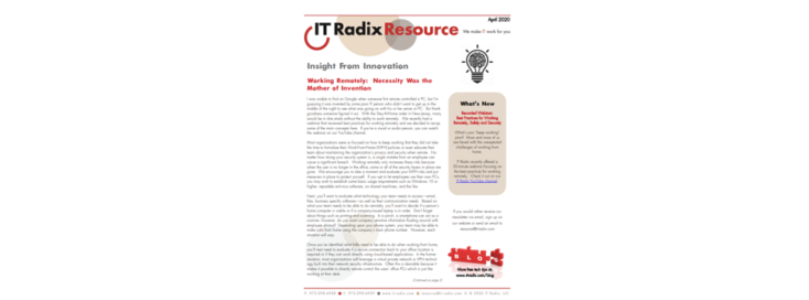 April 2020 IT Radix Resource Newsletter