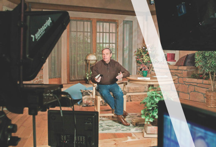 Andrew on set of his TV program Gospel Truth