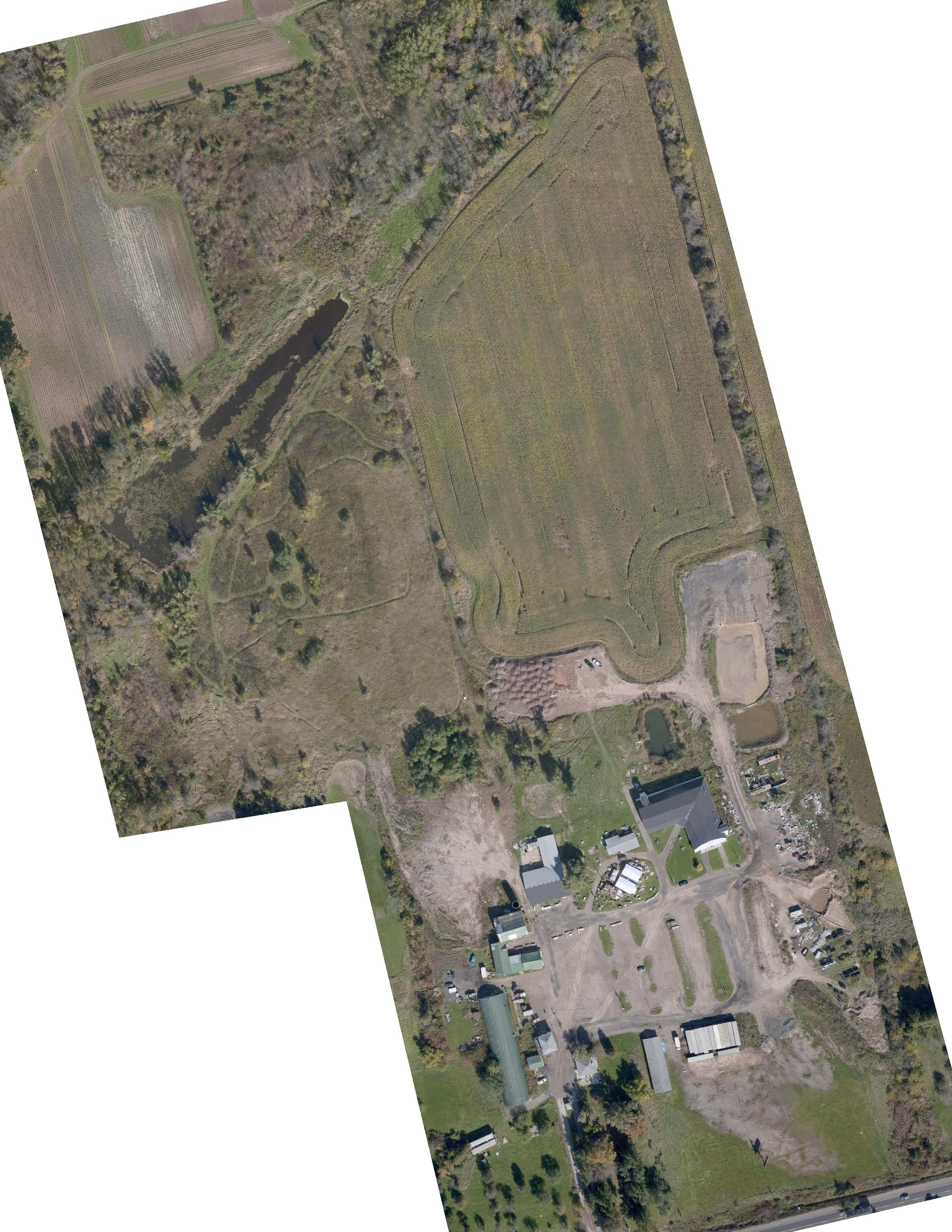 Aerial view of land development site