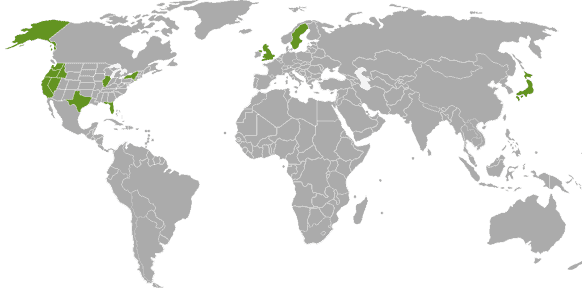 Computer Cloud Network Support Clients on World Map
