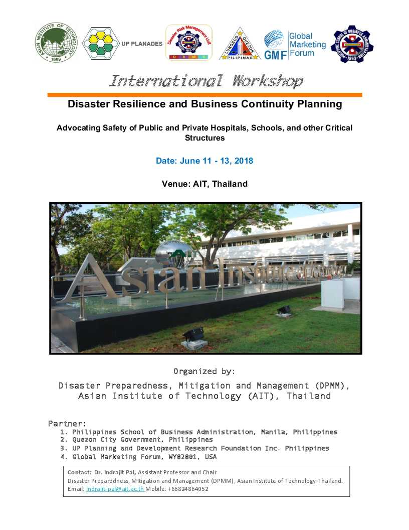 International Workshop on Disaster Resilience and Business Continuity  Planning