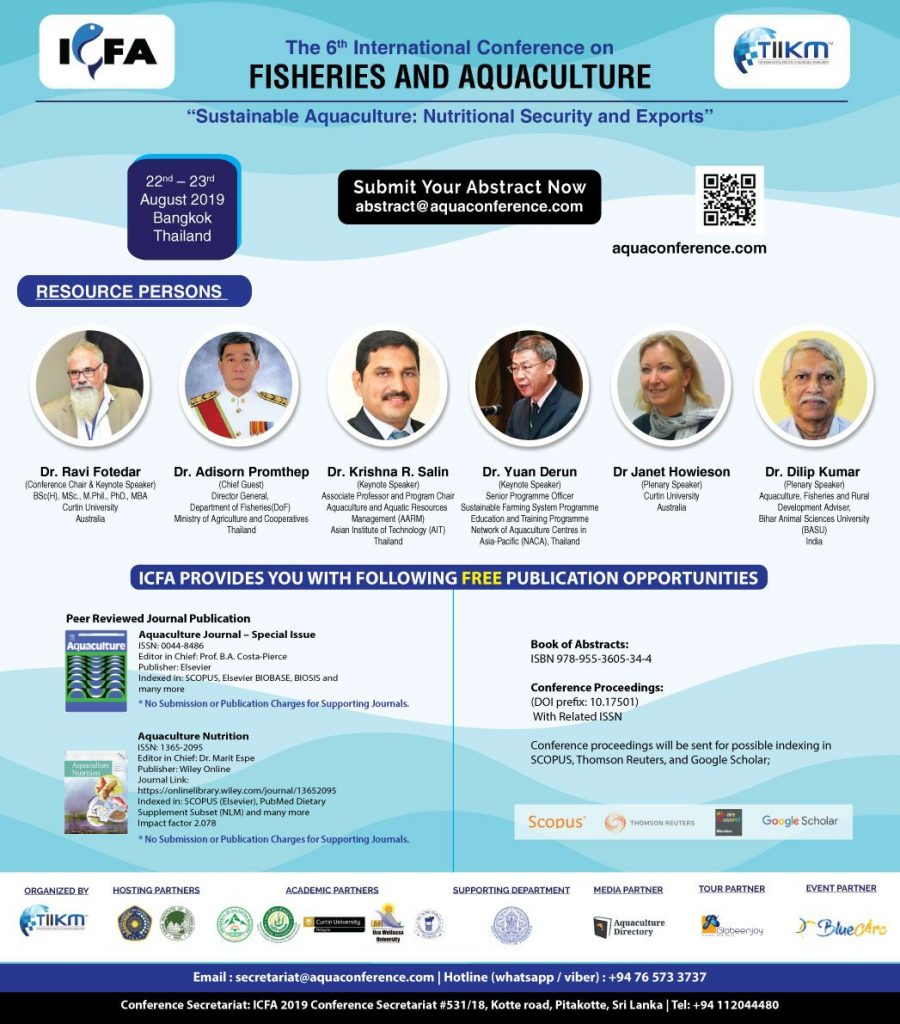 International Conference on Fisheries and Aquaculture 2019 – (ICFA