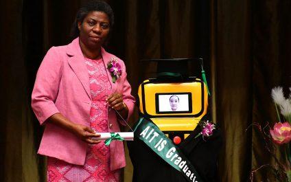 Robot stands in for Grade 6 graduates at AITIS Virtual Graduation 2020