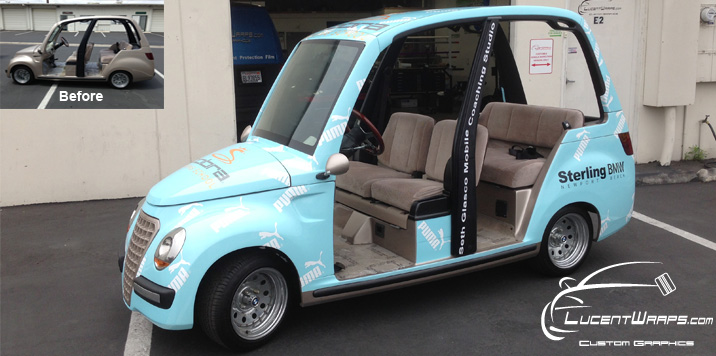 car wrap, vehicle graphics, digital print wrap, vehicle wrap, fleet graphics, golf cart wrap