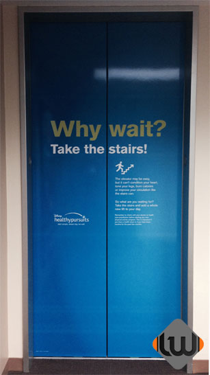 elevator wraps, elevator door wrap, elevator graphics