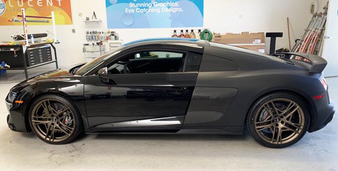car wrap, color change wrap, matte black, audi, R8, matte black wrap, vehicle wrap