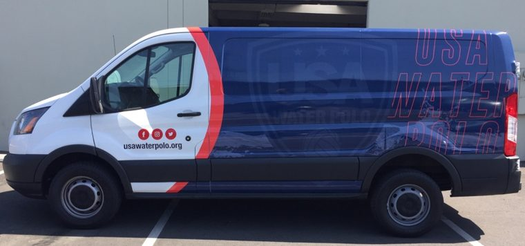 partial wrap, car wrap, vehicle wraps, vehicle graphics, van wrap, water polo, USA water polo
