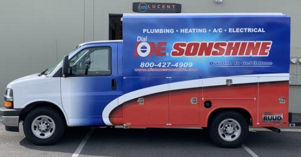 van wrap, vehicle graphics, car wrap, partial wrap, car decals, box truck wrap, plumbing wrap