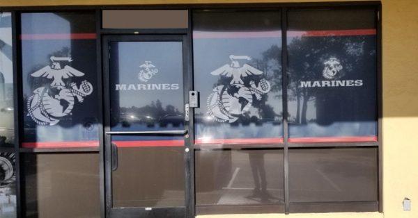 window wrap, window graphics, window decals, storefront, military, U.S. Marines