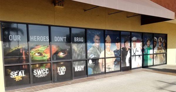 window wrap, window graphics, window decals, storefront, military, U.S. Navy