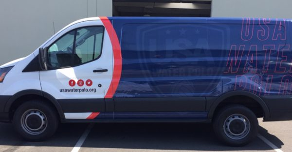 partial wrap, car wrap, vehicle wraps, vehicle graphics, van wrap, water polo, USA water polo
