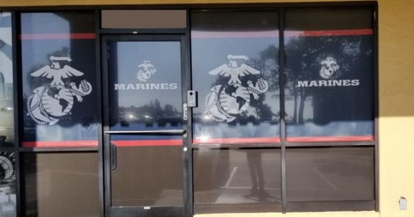 window wrap, window graphics, window decals, storefront, military, U.S. Marines