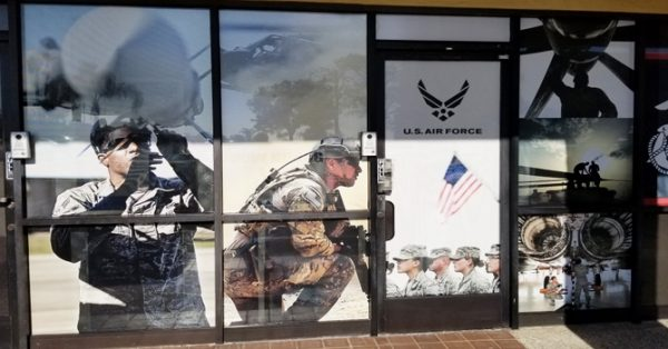 window wrap, window graphics, window decals, storefront, military, U.S. Air Force